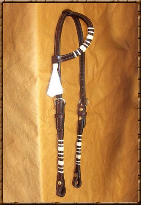 Rawhide Buttons with Mane Hair Tassel  Color shown - Dark