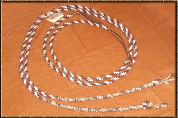 Horse Hair Split Reins with Rawhide Buttons