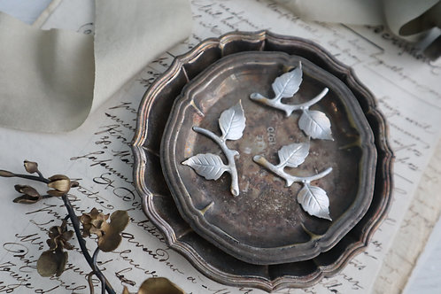 Shmily 手工上色銅制枝葉(銀色)
