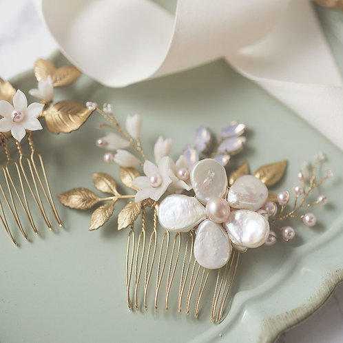 Miss Pastel--Baroque Pearl and Swarovski Pearl gold leave hair comb(Pair) Pink