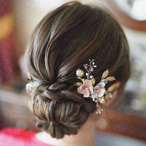 Secret Garden Hand Painted Brass flower hair comb