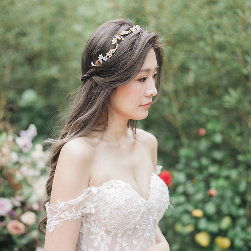 Dancing in the blossom-- Antique gold brass and freshwater pearl headpiece