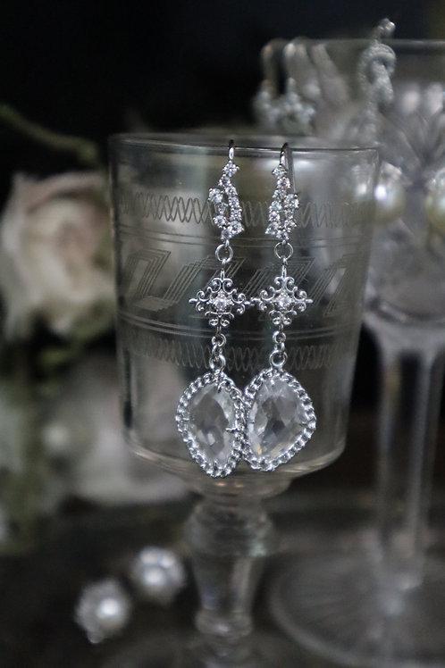 Silver Framed Pear Cut Victorian Earrings