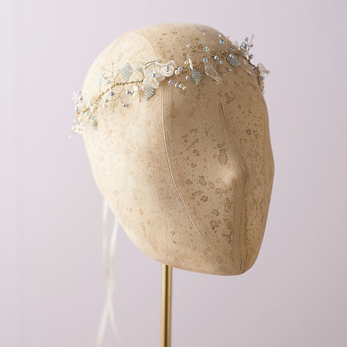 Miss Pastel--Swarovski crystal and Beaded leave shell flower Headpiece(Blue)