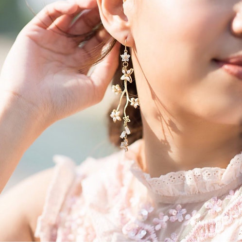 Star Flower brance Fresh Water Pearl Golden Earrings
