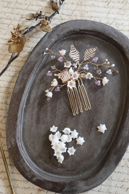 Lily of the valley with Swarovski crystal hair comb material set