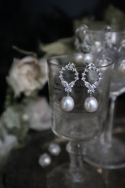 Round Shaped with Butterfly Fresh water Pearl Silver Earrings