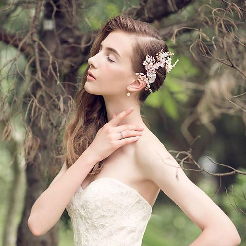 Dancing in the Blossom---Freshwater Pearl and fabric flower Headpiece