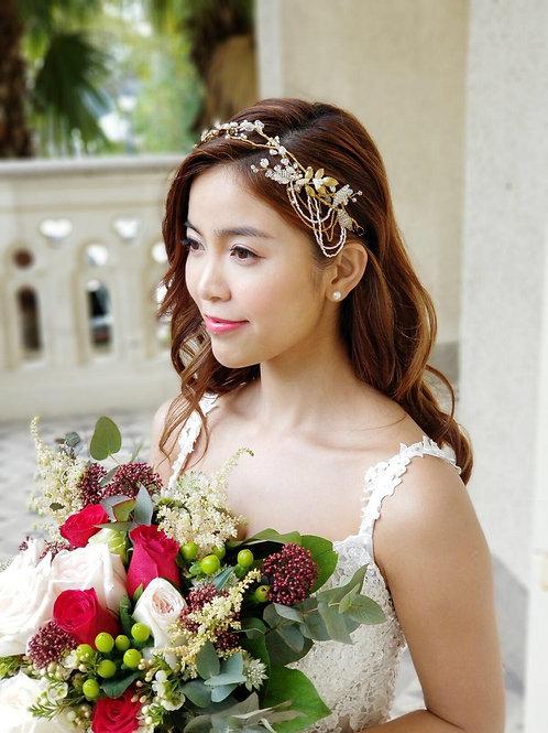 Boho like rain-- Clay Flower brass leaf hand beaded Chain headpiece