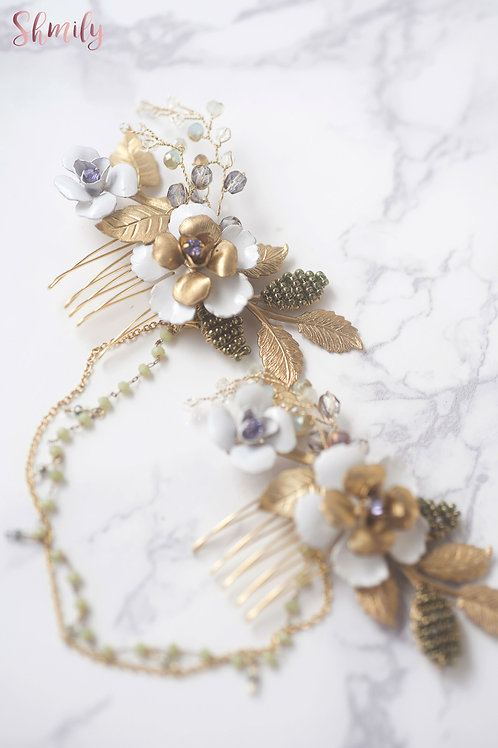 Olive Swirl -- Hand painted brass flower Hair comb with Rhinestone chain