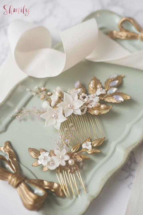 Miss Pastel- Golden leaf Rhinestone crystal Hair Comb Pink