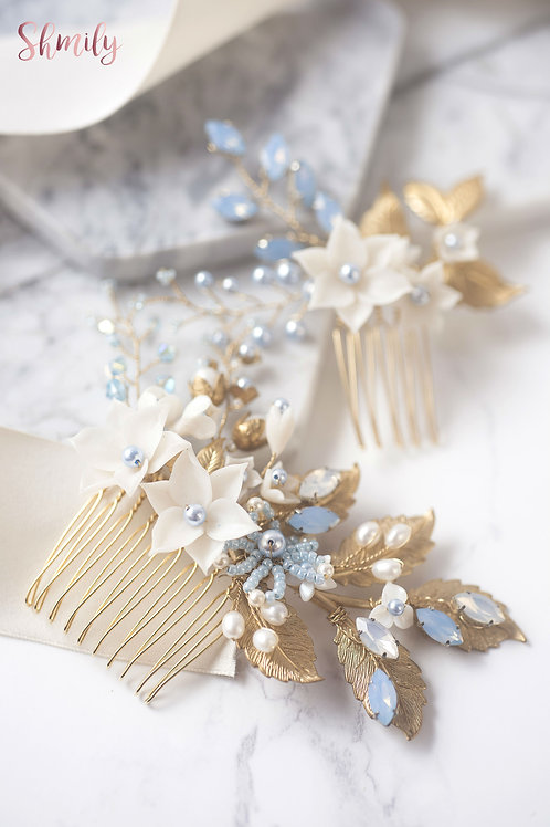 Miss Pastel- Golden leaf Rhinestone crystal Hair Comb(a pair) Light Blue