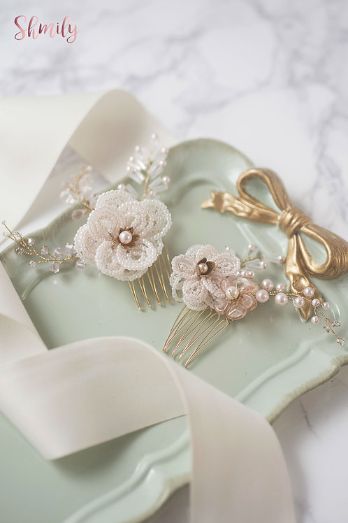 Miss Pastel Japanese beaded flower with Swarovski Crystal Hair comb(Pair)Pink