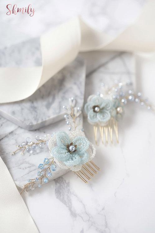 Miss Pastel Japanese beaded flower with Swarovski Crystal Hair comb(Pair) Ligh