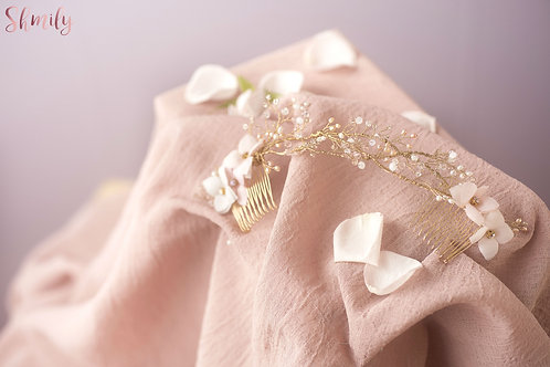 Dancing in the Blossom---Hydrangea and Freshwater Pearl Headpiece