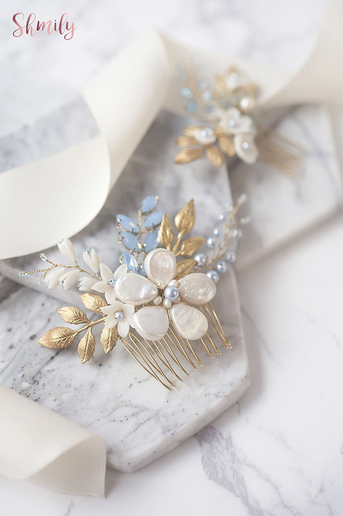Miss Pastel-Baroque Pearl and Swarovski Pearl gold leave hair comb(Pair)Blue