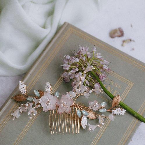Sakura with hand beaded brass leaf headpiece