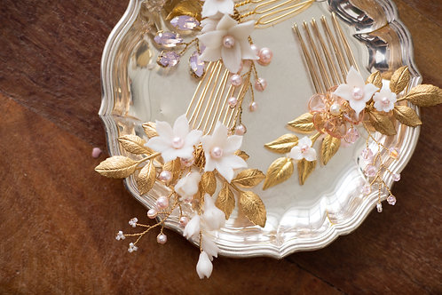 Lily flower with Swarovski crystal pearl hair comb