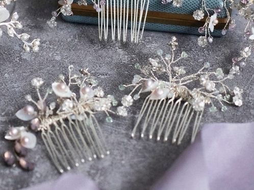 Starry night Swarovski crystal and shell flower freshwater pearl hair comb