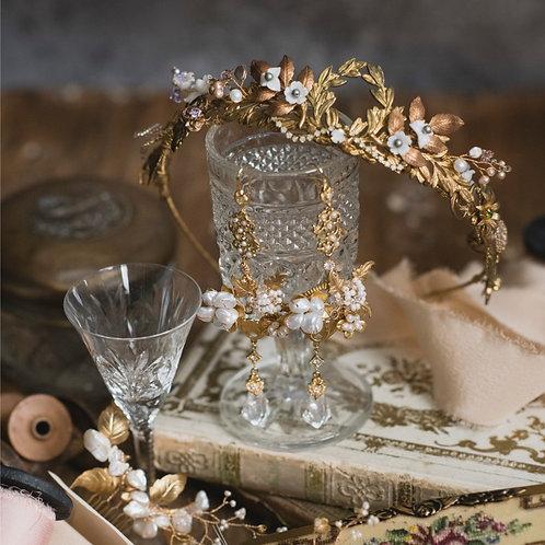 Ornate Victorian Baroque Pearl Swarovski Crystal Earrings
