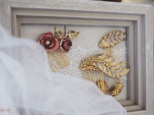 Love in Paris Hand painted antique leaves with earrings(Champagne Rose) FOR RENT