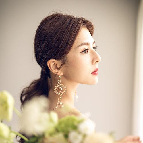Pearl in the Galaxy chandelier earrings