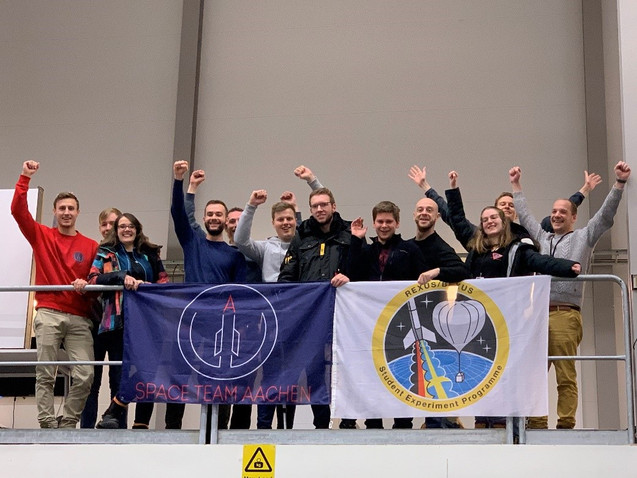 Team IMFEX with the team MicroMoon from FH Aachen University of Applied Sciences at the Preliminary Design Review in Esrange Space Center, February of 2020