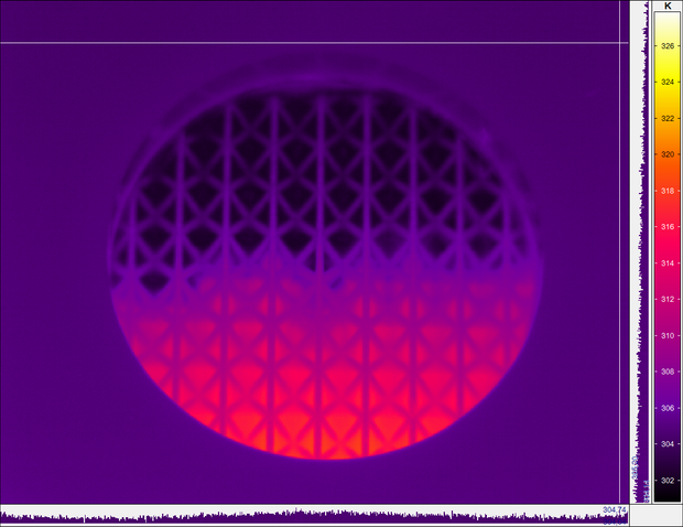 heat distribution through the lattice structure monitored using a thermal camera, August 2020