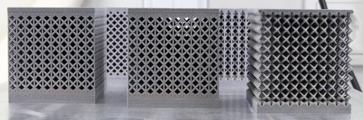 Five different specimen of the lattice structure printed by EOS and used for testing of the most optimal lattice configuration.