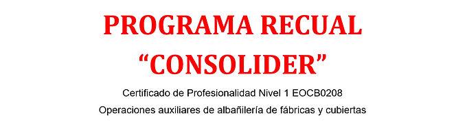 RELACIÓN DEFINITIVA DE ADMITIDOS/AS Y EXCLUIDOS/AS PARA LA PROVISIÓN DE UNA PLAZA DE DOCENTE-FORMADOR/AS PARA EL PROGRAMA RECUAL CONSOLIDER