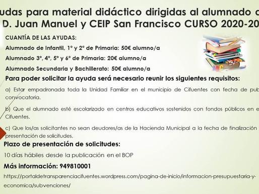 Ayudas para material didáctico IES D. Juan Manuel y CEIP San Francisco CURSO 2020-21-