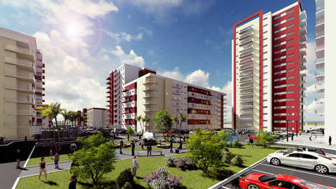 Apartments at Africa/3D Rendering&Animation