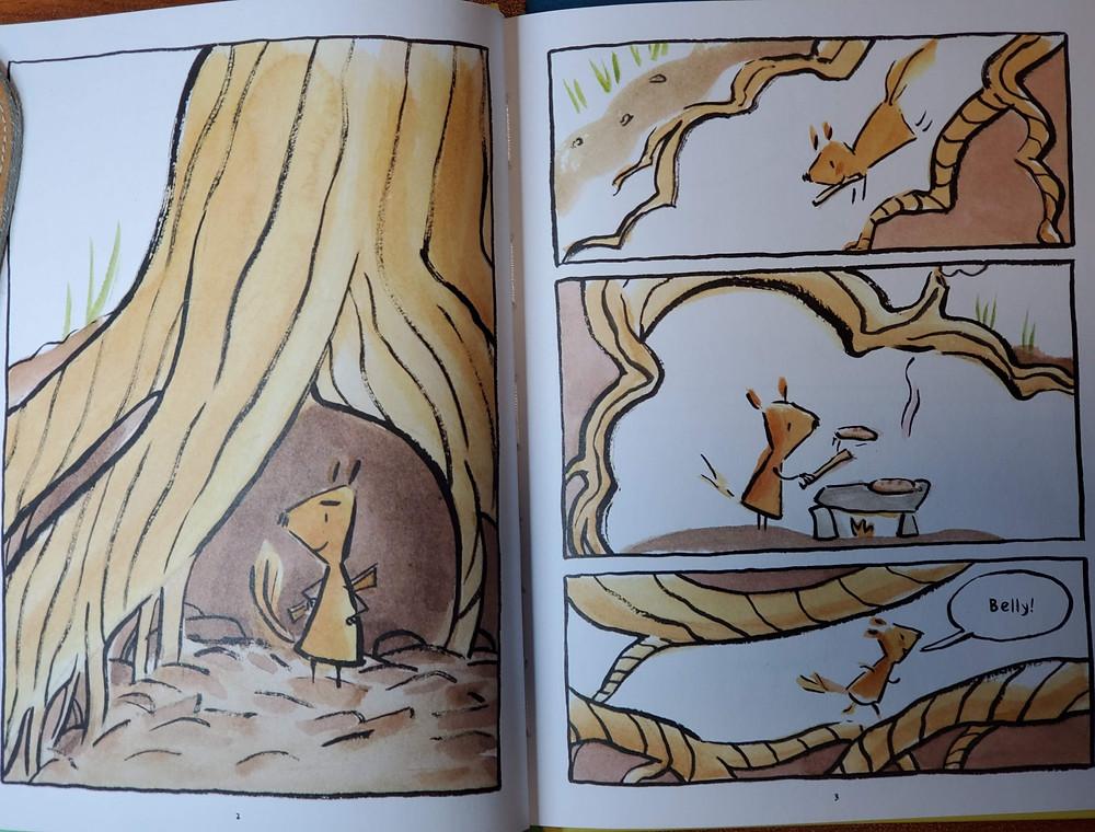 "Opening two page spread. Norma is standing outside a tree truck, she runs in and begins to make pancakes. The she runs out calling ""Belly!"""