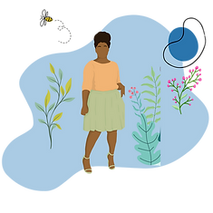 A black lady standing in shrubbery