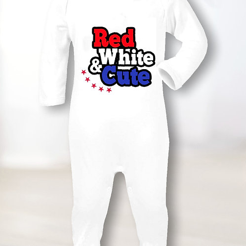 Red, White & Cute Sleepsuit
