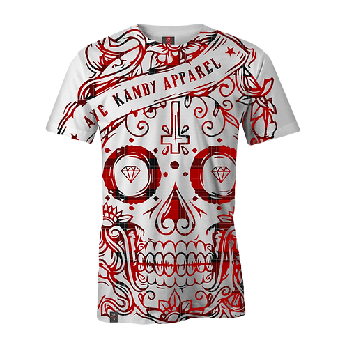 Tartan Oversized Sublimation Skull T-Shirt