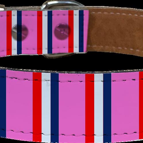 Pink Bar Scarf Faux Leather Dog Collar