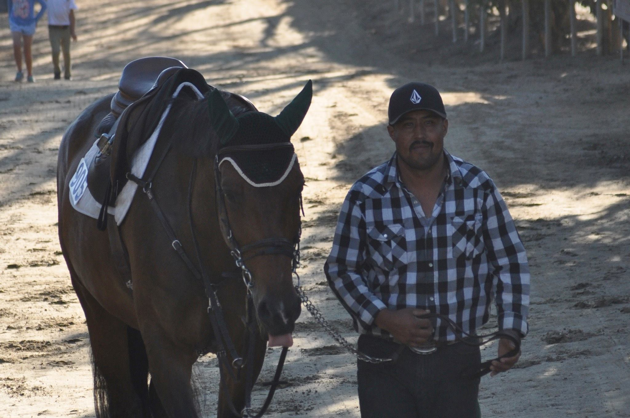 Barn manager Arturo with Ursina