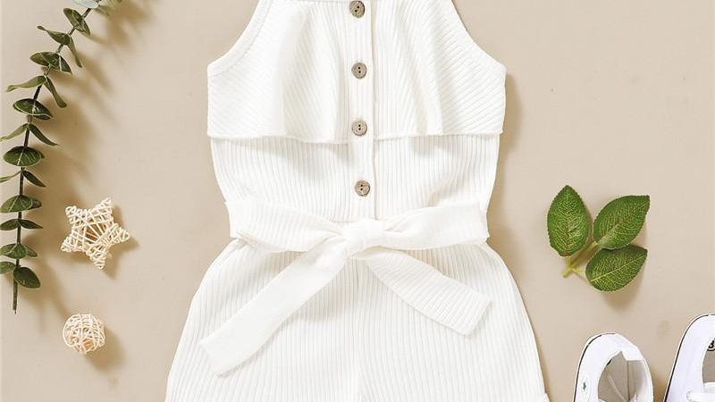 White Belted Playsuit