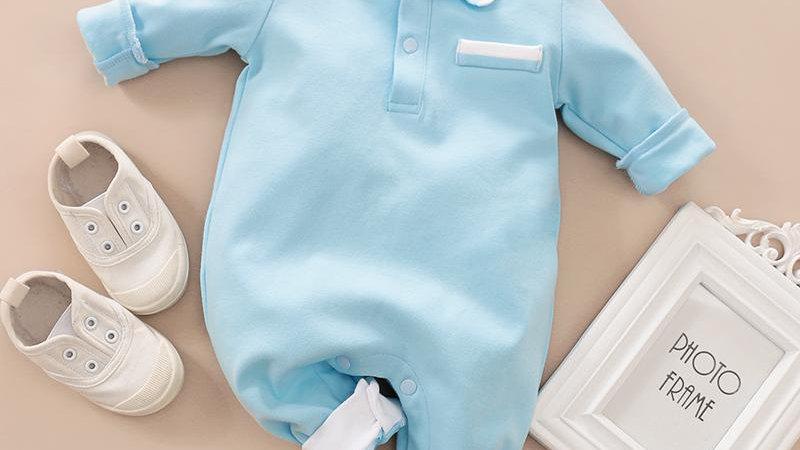 Baby Blue Long Sleeve Romper