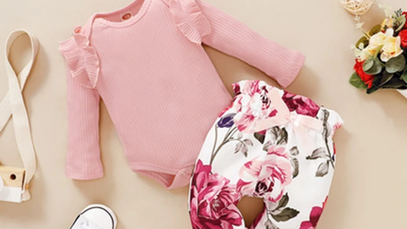 Pink Ruffle Bodysuit & Floral Trousers, Headband Set