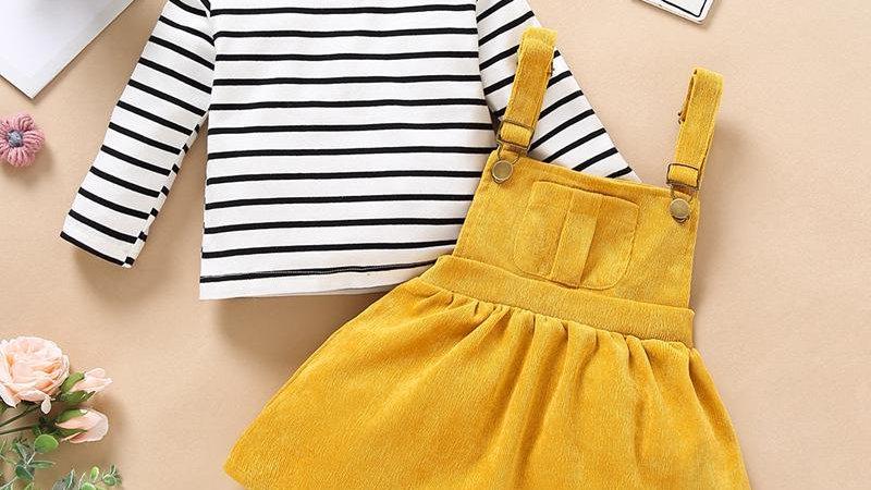 Striped Top & Mustard Dress