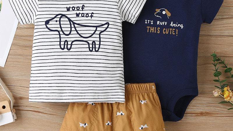 Cute Puppy T-Shirt, Vest & Shorts Set