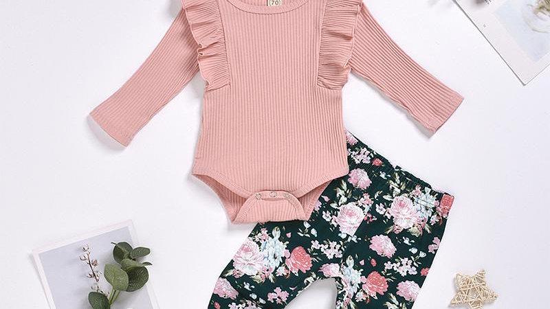 Pink Ruffle Bodysuit & Floral Leggings, Headband Set