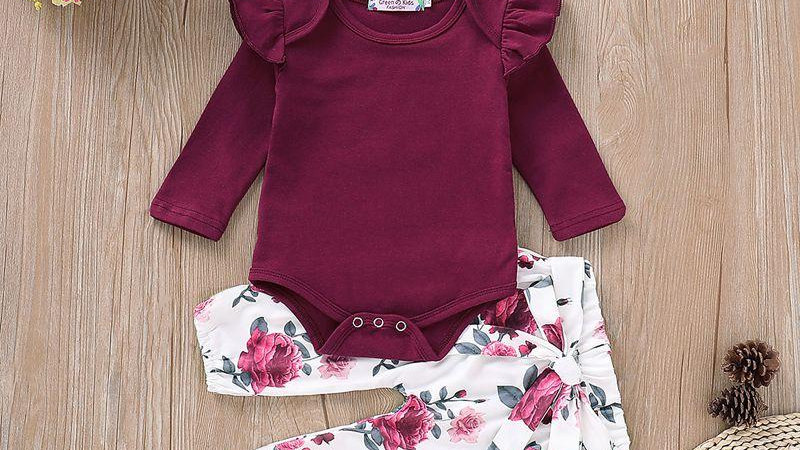 Burgundy Ruffle Bodysuit & Floral Trousers, Headband Set