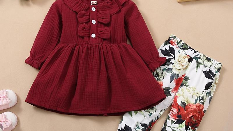 Pretty Burgundy Top & Floral Trousers Set