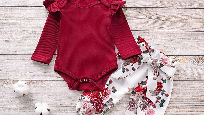 Ruffle Bodysuit & Rose Trousers, Headband Set