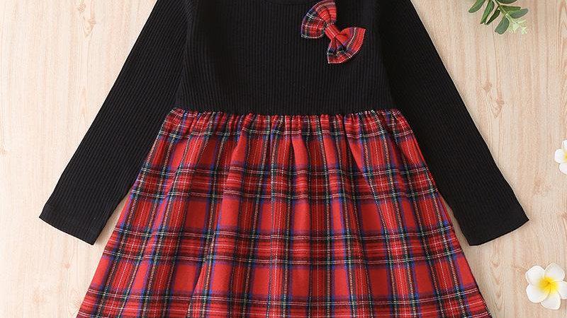 Bow Detail Plaid Dress