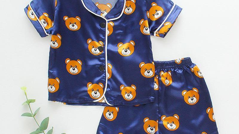 Silk Bear Blue Pyjamas