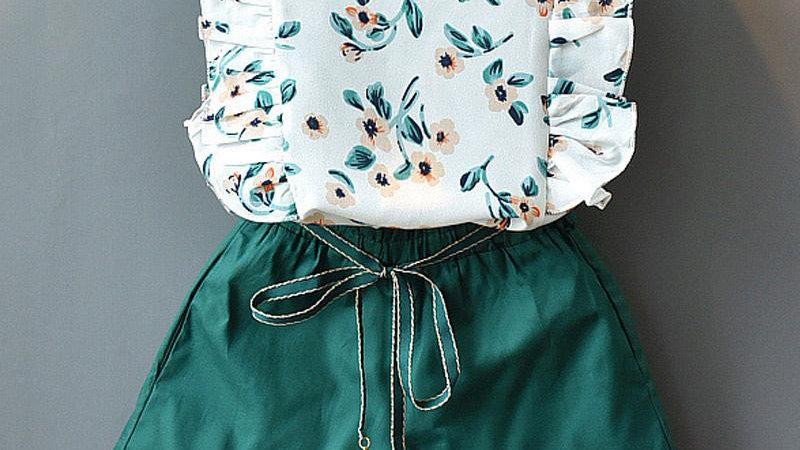 Oriental Floral Top, Shorts & Belt Set